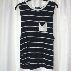 Ambiance Black and White Stripe Pocket Muscle Tee